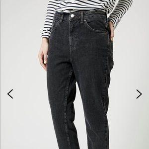 Topshop moto black washed mom jeans